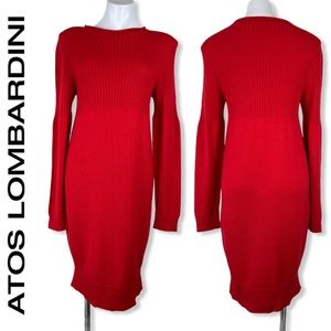 ATOS LOMBARDINI red merino wool sweater dress M